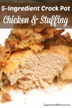 Crock Pot Chicken & Stuffing Simple and delicious, this Crock Pot Chicken & Stuffing will become a favorite for everyone in your family. And did I mention, it is SO easy? Slow Cooker Huhn, Crock Pot Slow Cooker, Slow Cooker Recipes, Cooking Recipes, Yummy Recipes, Dinner Recipes, 5 Ingredient Crockpot Recipes, Vegan Recipes, Fast Recipes