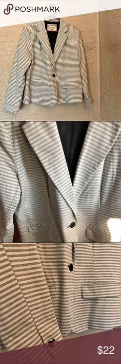 Striped Cotton Blazer Merona Large/XL This size 18, grey + white striped blazer from Target's Merona collection is so soft and fashionable. Has dark brown buttons. Business casual so it's perfect for work! Fits a large/XL best. I love this blazer - just isn't my size, sadly! Price is negotiable so make me an offer! Browse around my closet and find something else for 20% off your purchase! ⚡ Anthropologie Jackets & Coats Blazers