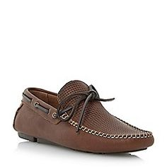 Dune - Tan 'Beach comber' weave print driver loafer