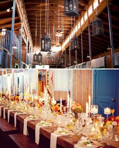 another barn wedding, beautiful! although, i'm guessing they never actually kept horses in this one ;)