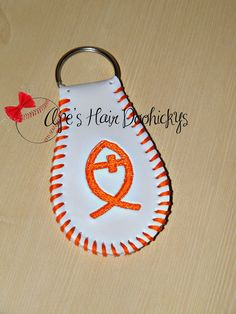 Christian Fish or Awareness Ribbon Real Baseball Key Chain by ApesCustomPhotoProps on Etsy