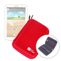 """DURAGADGET """"Tough"""" Range Red Hard Clam Style Case With Soft Interior Lining And Dual Zips For Samsung Galaxy Tab 3 7.0"""