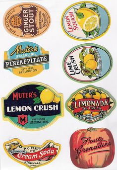 Vintage Bottle Labels #1 of 2 - A Flickr set of high res scanned labels. Great to print and label bottles for your own soiree.