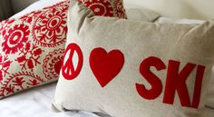 Peace, love, ski makes the world go around!  Decorate your Mountain Retreat with these adorable cushions/pillows and many more, found in the CHALET Collection @ www.snowangel.com.au