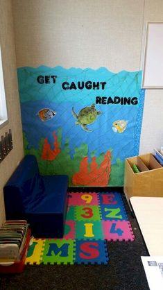 Awesome Reading Corners For Kids - jihanshanum Ocean themed reading corner idea Preschool Reading Corner, Preschool Rooms, Kindergarten Classroom, New Classroom, First Grade Classroom, Classroom Themes, Ocean Themed Classroom, Stars Classroom, Disney Classroom