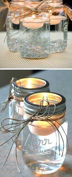 DIY Mason Jar Floating Candles   DIY Outdoor Wedding Ideas on a Budget #weddingcandlesoutdoor #floatingcandles #budgetwedding #weddingideas
