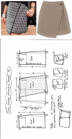 Mini saia envelope - DIY - molde, corte e costura - Marlene Mukai // Taika Sewing Clothes Women, Diy Clothes, Easy Sewing Patterns, Clothing Patterns, Fashion Sewing, Diy Fashion, Moda Fashion, Skirt Fashion, Trendy Fashion