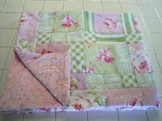 Handmade baby children's patchwork quilt Tanya Whelan Sunshine Roses fabrics green white pink pink minky by AuntieJenniesAttic on Etsy