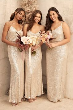 50 Bridesmaid Dresses She Won't Hate! | The Perfect Palette Gold Bridesmaids, Sequin Bridesmaid Dresses, Wedding Dresses, Gold Sparkle Bridesmaid Dress, Women's Dresses, Evening Dresses, Silver Sequin Dress, Sequin Maxi, Gold Sequins