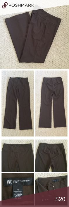 "INC Intl Petite Slacks INC International Petite brown slacks in Size 2P. Great condition - no stains or holes. Some wrinkling from storage, a slight faded spot in front where clasp closures are. Unlined. Measures approx: 29 1/2"" inseam, 14"" across waist, 8"" front rise. INC International Concepts Pants Wide Leg"