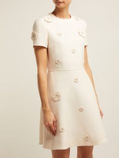 Valentino Floral Applique Wool And Silk Blend Crepe Dress - Womens - Ivory Multi , Valentino Rossi, Valentino Rockstud, Valentino 2017, Valentino Couture, Valentino Shoes, Dresses For Teens, Day Dresses, Cute Dresses, Short Sleeve Dresses