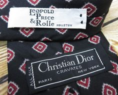 Christian Dior Tie Vintage Necktie Black and Red Silk Holiday Gift Birthday #ChristianDior #Vintage