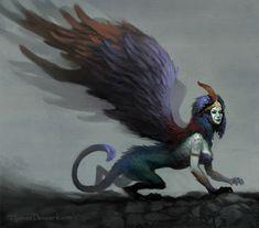 Fantasy Inspiration, Character Inspiration, Character Art, Character Design, Creature Feature, Creature Design, Magical Creatures, Fantasy Creatures, Sphinx Mythology