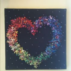 Puzzle Piece Heart! Stunning idea, I would love to make one (or receive one!)                                                                                                                                                      More