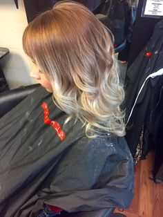 Golden ash blonde going into blonde balayage ombre.