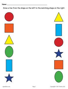Free Printable Shape Matching Worksheet With Colors Page 1 Shape Worksheets For Preschool, Nursery Worksheets, Matching Worksheets, Shapes Worksheets, Preschool Learning Activities, Free Preschool, Preschool Printables, Lkg Worksheets, Preschool Writing
