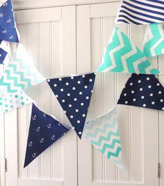 Nautical Bunting, Banner Fabric Pennant Flags, Anchor, Navy Blue, Mint, Teal, Turquoise, Chevron, Baby Nursery Decor, Birthday Garland Decor
