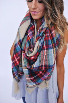 Blanket Scarf- Green/Red - Dottie Couture Boutique
