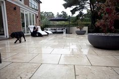 Classic Travertine Paving Unfilled gives a contemporary yet warm feel to this garden and perhaps a hint of the Mediterranean.