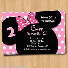 Minnie Mouse Birthday Invitation - Party Invites Custom Photo Mickey 4x6 or 5x7