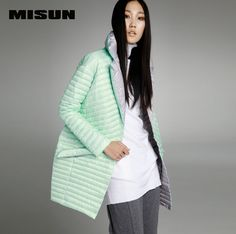MISUN 2017 winter jacket women asymmetric length mantle type cocoon thin light single breasted long-sleeve outerwear down coat