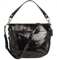 ($309.99) Coach Zoe Patent Leather Convertible Hobo Bag Purse 15478 BlackFrom Coach