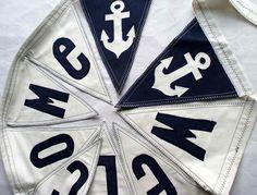 Nautical Wedding WELCOME Banner with Anchors. Shabby Chic Decoration for Nautical Theme Wedding. Wedding Sign. Beach Wedding.  Coastal Decor by SwinkyDoo on Etsy https://www.etsy.com/listing/107899044/nautical-wedding-welcome-banner-with