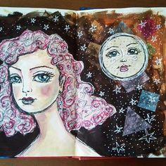 💖 #29faces challenge -February 2018 💟💗💖  #elenisartstuff #mixedmedia #art #artwork #artist #artistoninstagram #potd #pickoftheday #photooftheday #whimsical #fun #challenge #instalike #instaartist #instaart #instalove #instagood #jdmm #janedavenportjournal #whimsicalart #paintedfaces #moon
