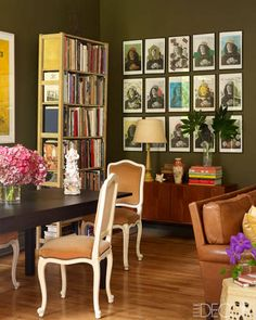 Elaine Griffin- Harlem Brownstone, Louis XV-style chairs, IKEA dining table, Danish credenza by Hans Olsen, Warhol-style photocopies of a self-portrait by Sandro Botticelli