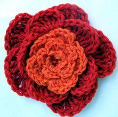 Crochet 5-petal flower free pattern