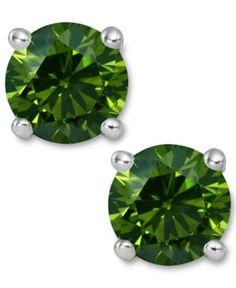 Enhanced Green Diamond Solitaire Stud Earrings in White Gold Green Diamond, Diamond Stud, Diamond Earrings, Stud Earrings, I Love Jewelry, Fine Jewelry, 14k White Gold Earrings, Diamond Stores, Bridal Jewelry