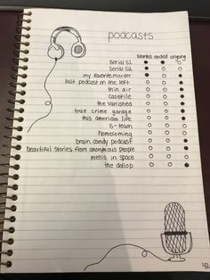 Image result for podcasts to listen to bullet journal page