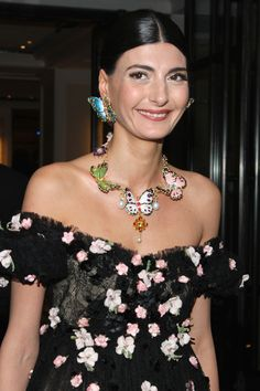 Giovanna Battaglia Gemstone Statement Necklace - Giovanna Battaglia's butterfly necklace and earrings and flower-strewn dress at the Met Gala were a super-charming combination.