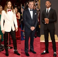 Oscars men - Like his 'Dallas Buyers Club' co-star Matthew, Jared accepted his Best Supporting Actor trophy in ivory, rocking favoured label, Saint Laurent. To go with his cream-coloured blazer, he wore a white shirt with embellished buttons, a scarlet Monsieur Jean Yves Paris bowtie and black pants.