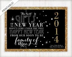 New Year's Eve Pregnancy Announcement - Printable Announcement - Glitter and Gold - Facebook Pregnancy Reveal