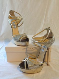 b540f4d7b188 JIMMY CHOO Sierra Glitter Open Toe Platform Sandals IT 39 Champagne Gold