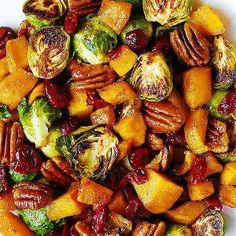 Roasted Brussels Sprouts, Cinnamon butternut squash, pecans & cranberries