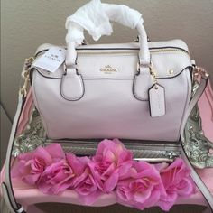 Coach Mini Bennett Satchel Bag This is a really cute chalk white mini satchel! It's not a regular sized purse, but it is perfect for someone looking for a small coach bag! It has the coach emblem in gold and it still has tags! Coach Bags