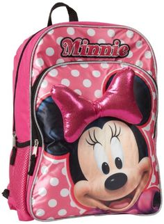 Disney Girls Minnie Mouse Backpack with Bow Pink One Size ** Continue to the product at the image link.