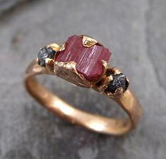 Raw Hot Pink Tourmaline Diamond 14k Rose Gold Engagement Ring Wedding Ring One Of a Kind Gemstone Ring Bespoke Three stone Ring byAngeline