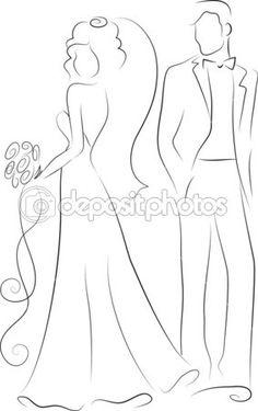 silhueta da noiva e noivo, fundo, convite de casamento, o vetor