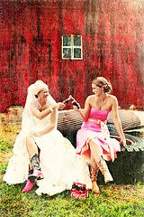 Bride & maid of honor....I adore this pic! Just needs to be the biggest bottle of wine :)