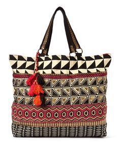 Black & Red Beaded Tote