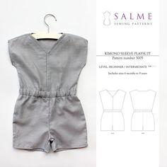 Children's Unisex Kimono Sleeve Playsuit PDF pattern