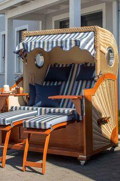 Epic Blau wei er Strandkorb von deVries Albatros Strandkorb Volllieger mit eingearbeitetem Bullauge Strandk rbe u Gartenliegen