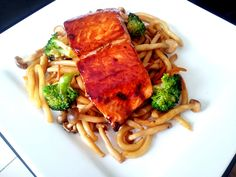 Teriyaki Salmon with Fried Udon