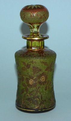 Rare antique french art nouveau cameo glass crystal perfume bottle daum baccarat