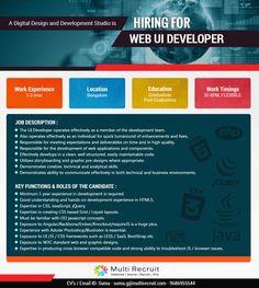 Hurry!!! A Digital Design and Development Studio is Hiring for Web UI Developer Point of Contact for CV's / Email ID: Suma - suma.g@multirecruit.com - 9686955544.