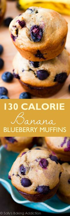 Only 131 calories in these completely flavorful and delicious blueberry banana muffins! And you won't believe how easy they are. Recipe found on sallysbakingaddiction.com