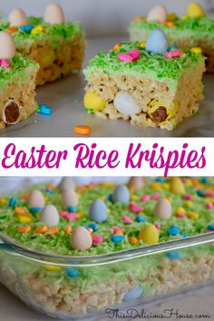 dessert recipes 193865958948451744 - Easy Rice Krispies Easter Treats are so fun to make and include hidden Cadbury Mini Eggs. Cute and festive, don't miss this Easter recipe that little ones will love! Source by itsmelissa Easter Snacks, Easter Appetizers, Easter Dinner Recipes, Dessert Recipes, Easter Food, Easter Salad, Easter Table, Easter Lunch, Salad Recipes